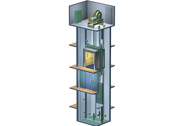 نمونه یک آسانسور با موتورخانه