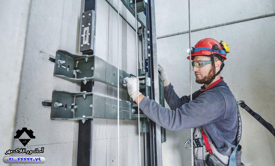 مراحل تعمیر آسانسور در افلاک مهر